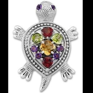Samuel B Silver gem encrusted Turtle 🐢 Pendant